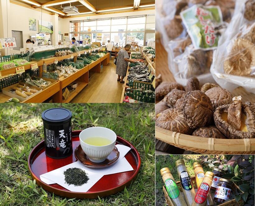 「天竜 山の市」では特産の天竜茶や干しシイタケのほか、ジャムやドレッシングがおすすめ