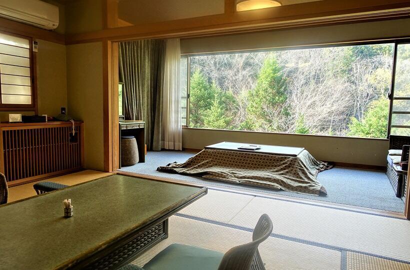 広々とした客室内。窓際には掘りごたつがあり、谷川岳を一望できる