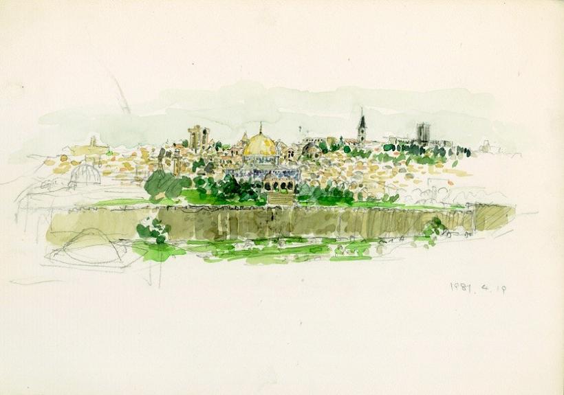 故鈴木喜一氏が描いたエルサレムの風景。円屋根が印象的だ