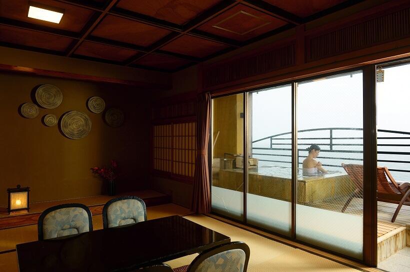 北川温泉 月と太陽が魅せる絶景を客室露天風呂で観賞(1)