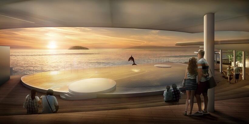 幻想的な雰囲気の「夕陽の海豚プール」©四国水族館開発
