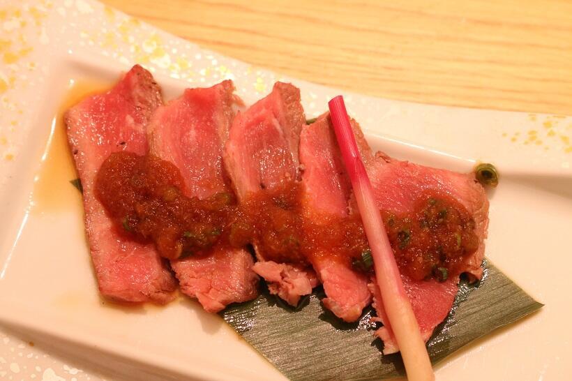 焼肴「牛肉の紅葉焼き」