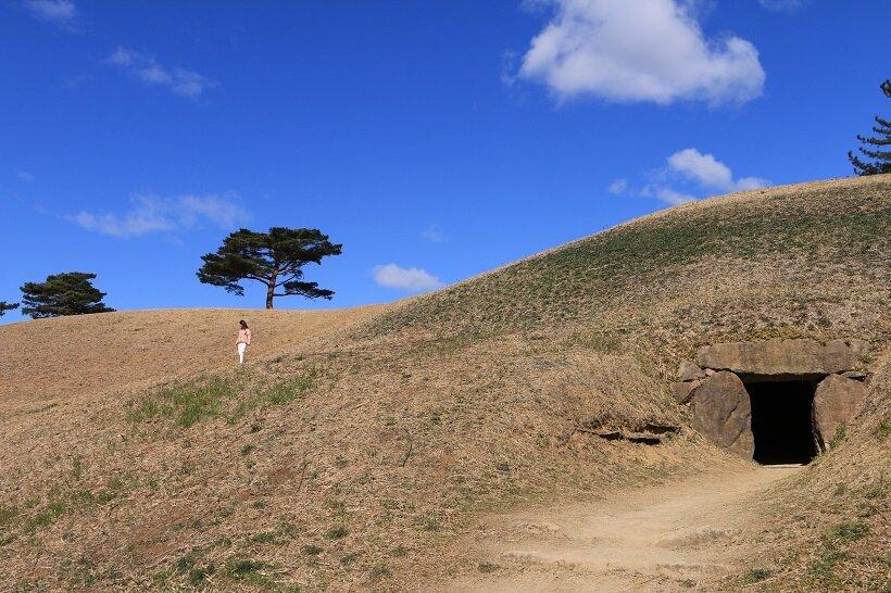 往時と変わらない墳丘の姿を見せる前二子古墳