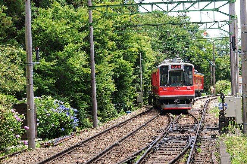 大平台駅近くでスイッチバックする箱根登山電車