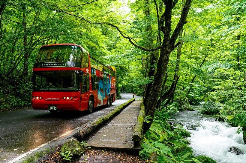 奥入瀬でオープントップバス体験