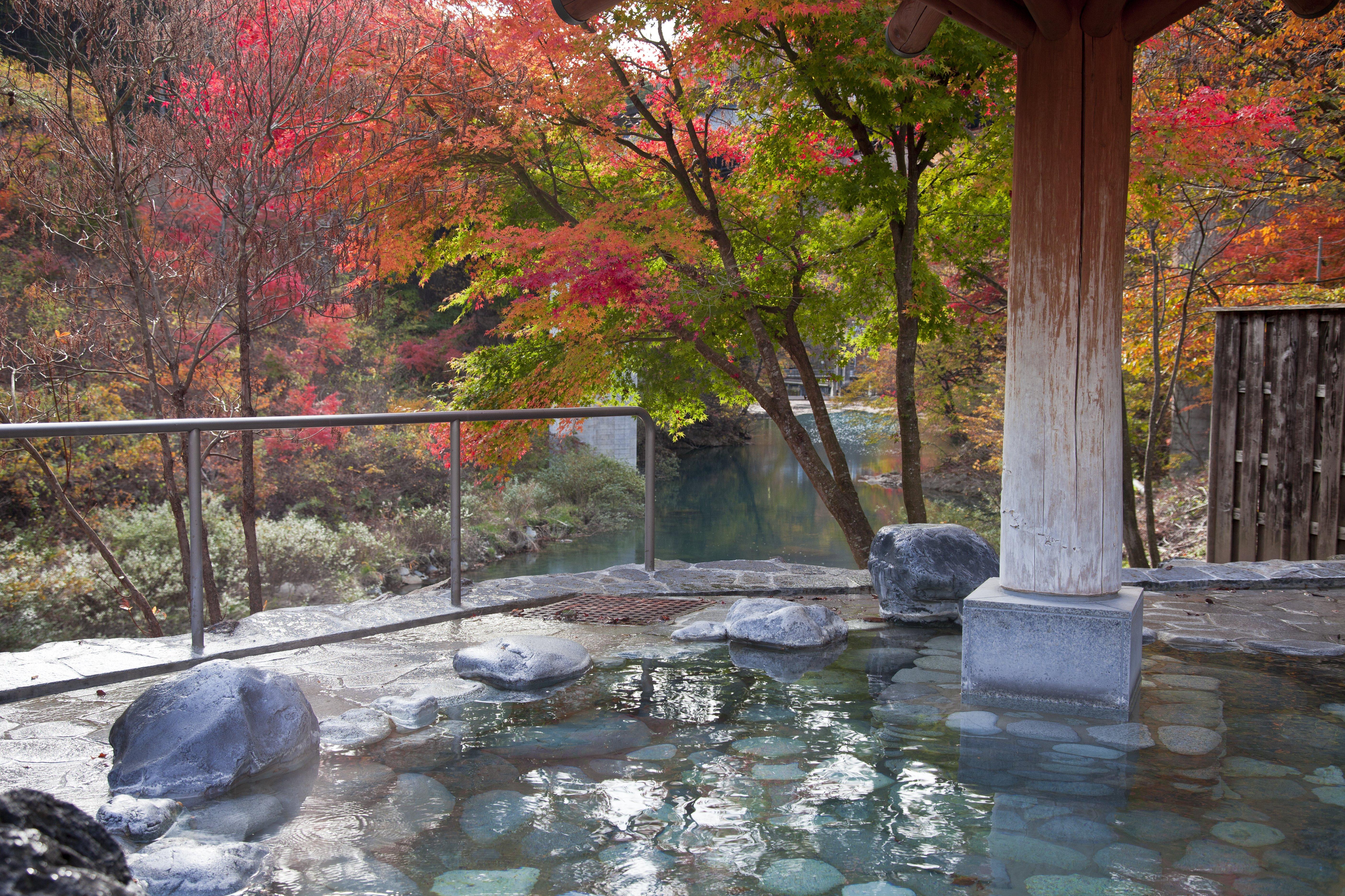 四万清流の湯では、11月中旬まで紅葉を眺めながら湯浴みを楽しめる(写真/四万温泉協会)